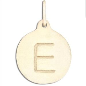 "Helen Ficalora Gold ""E"" Alphabet Charm Necklace"